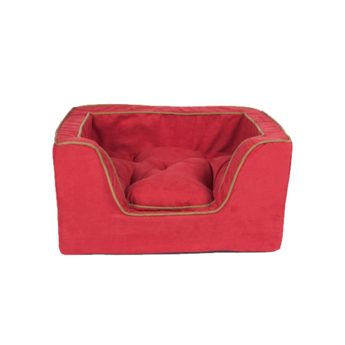 Luxury Square Dog Bed - Red - Medium