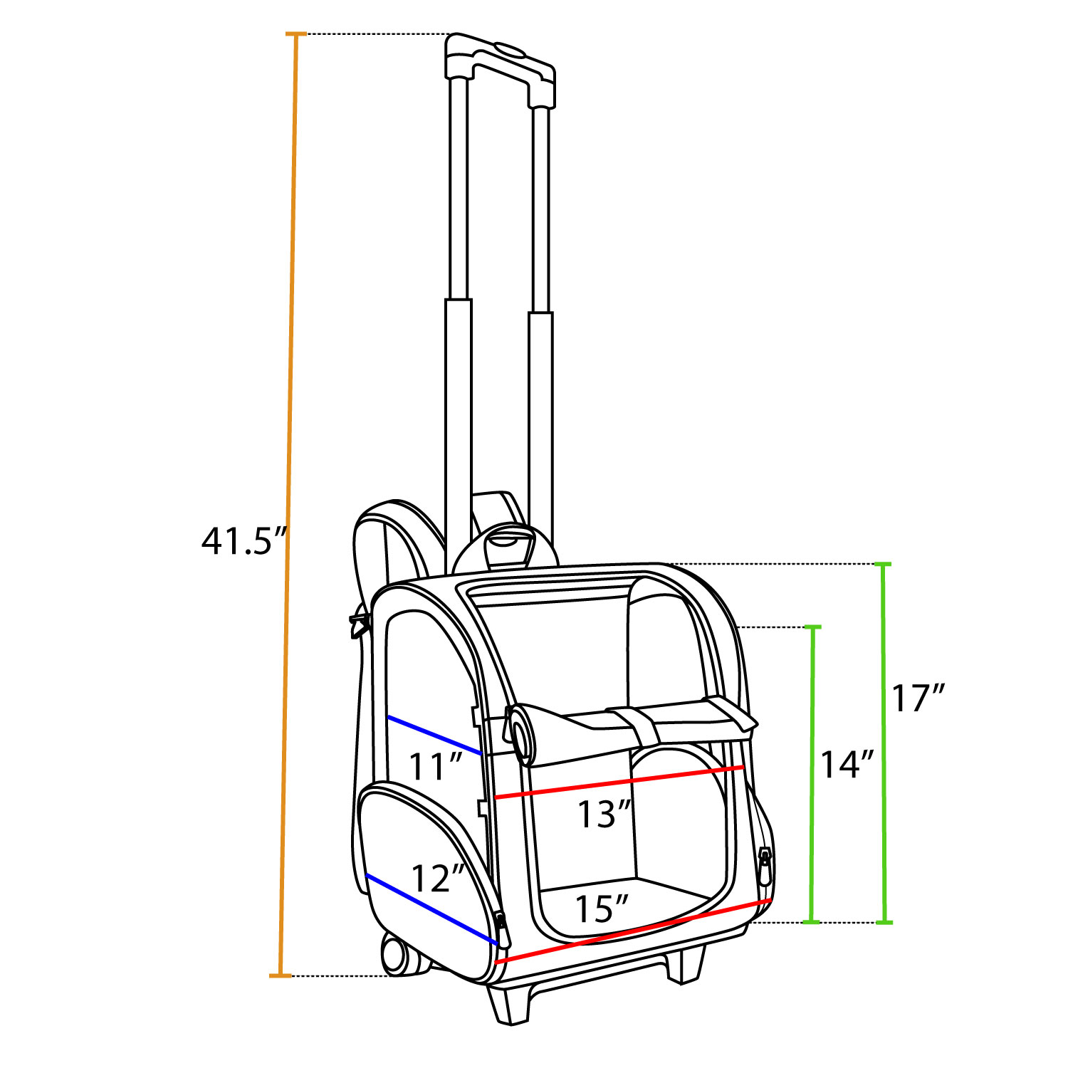 Snoozer Roll-Around Pet Carrier Large Dimensions
