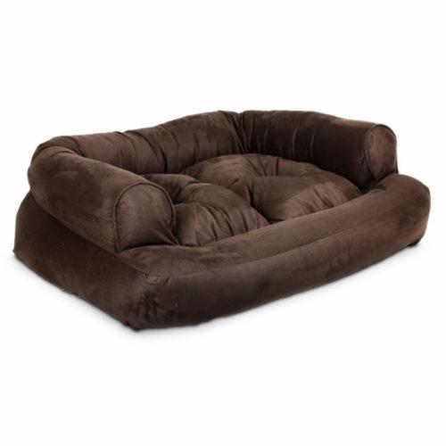 Overstuffed Luxury Dog Sofa - Hot Fudge